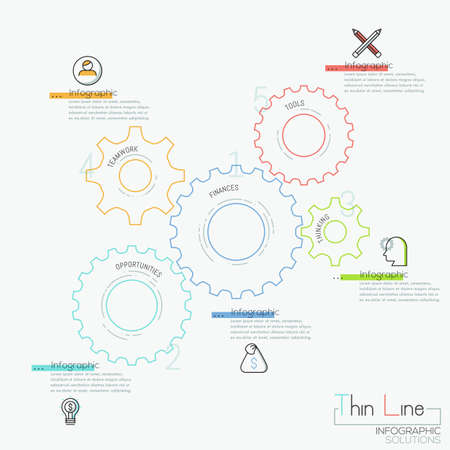 Infographic design template with 5 gear wheels, pictograms and text boxes