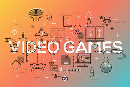 Modern thin line banner of classic game objects, mobile gaming elements.