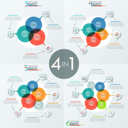 Set of modern infographic design templates with 3, 4, 5 and 6 overlapping translucent round elements
