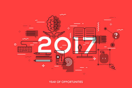New prospects and predictions in internet courses, distance education, self-improvement Illustration
