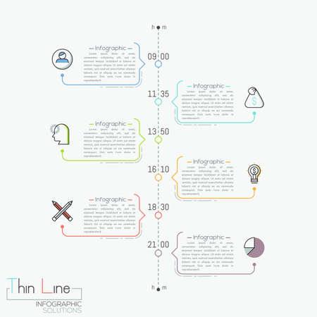 Línea de tiempo vertical con indicación de tiempo, pictogramas y cuadros de texto