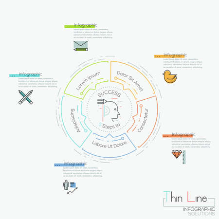 Infographic design layout, circular chart with 5 elements located around central pictogram and text boxes Ilustração