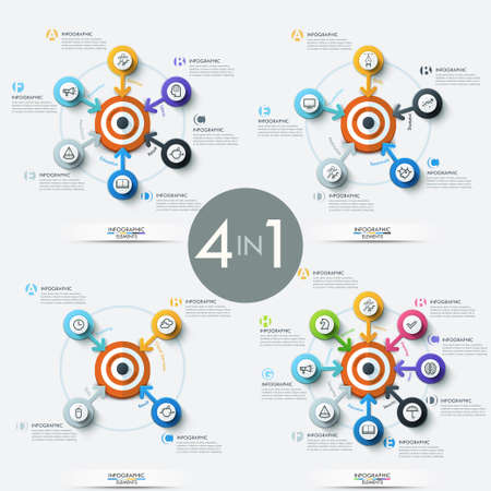 six point: Collection of 4 modern infographic design templates