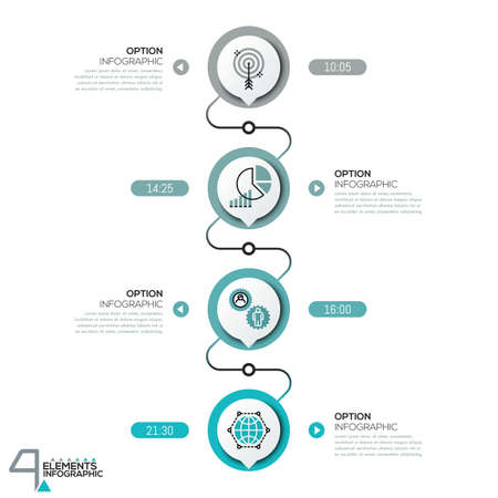 Infographic design template, diagram with 4 circular elements successively connected by lines