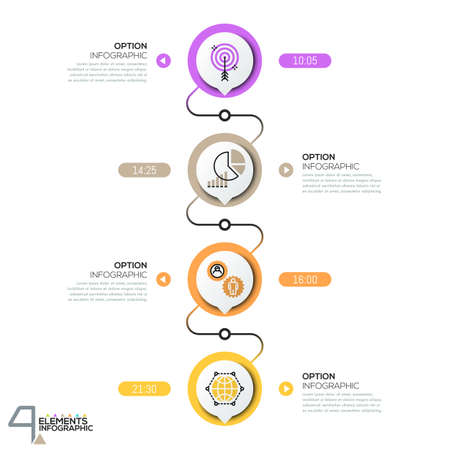 successively: Infographic design template, diagram with 4 circular elements successively connected by lines