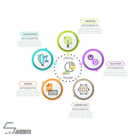 Round diagram, 5 circular elements with pictograms Illustration