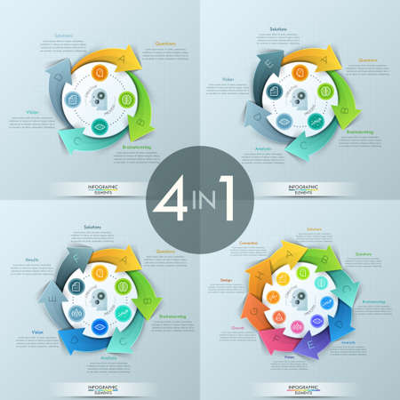Set of 4 modern infographic design templates Illustration