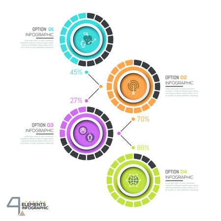 Infographic design template with 4 numbered circular elements