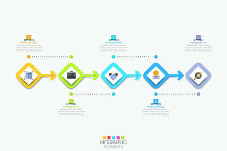 Infographic design template with 5 colorful square elements