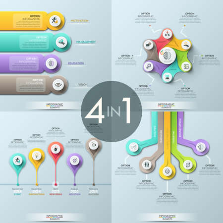 Bundle of 4 infographic design templates
