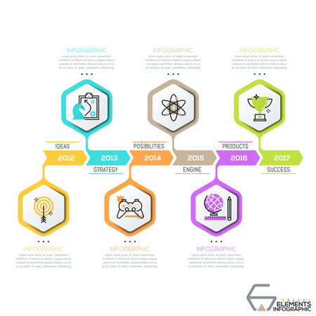 Horizontal timeline, 6 hexagons with thin line icons 向量圖像
