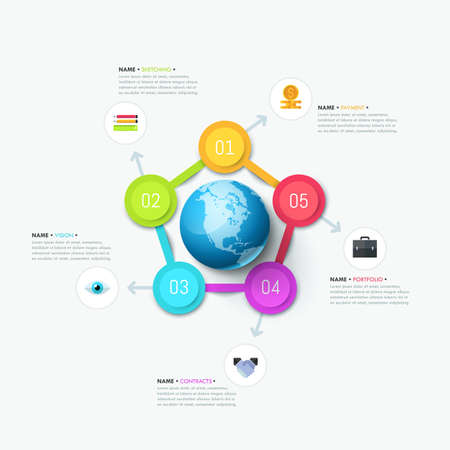Creative infographic design layout. Planet surrounded by 5 round elements Illustration
