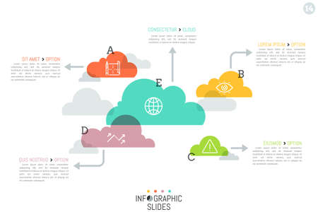 Modern infographic design layout, 5 separated translucent clouds Illustration