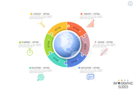 Six jigsaw puzzle pieces placed around planet Earth. Features of international development, global business processes concept