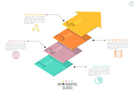 Creative infographic design template. Four numbered elements in shape of flat arrows placed one above other Illustration