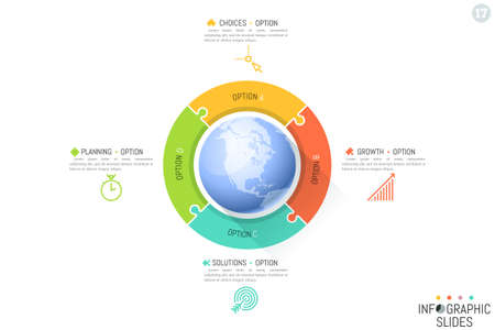 Four connected jigsaw puzzle pieces placed around globe. Global communication and international business networking concept