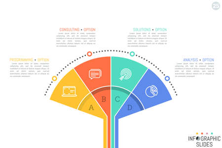 Minimalistic infographic design template. Fan chart with 4 colorful elements, pictograms and text boxes Illustration