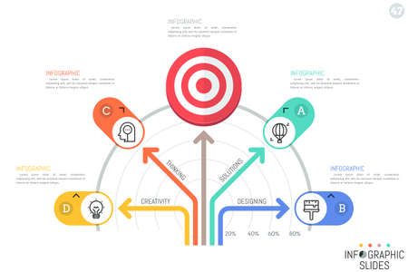 Infographic design template. Tree diagram or fan chart with colorful arrows pointing at 4 lettered elements and shooting target symbol