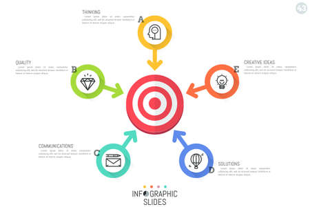 Creative infographic design template. Flower petal diagram with 5 round elements and arrows pointing at shooting target in center