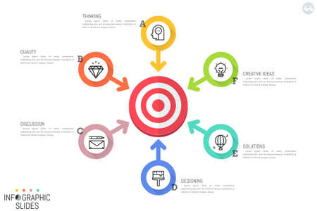 Infographic design layout. Round diagram with target central element, 6 arrows pointing at it, icons and text boxes