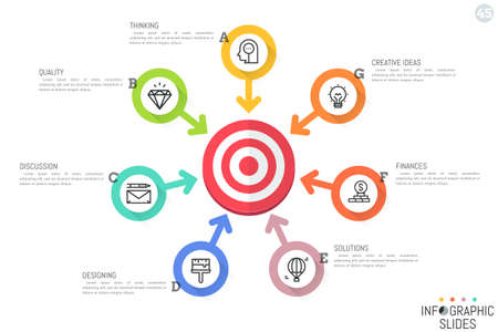 Infographic design template. Circular chart with 7 round lettered elements, pictograms, text boxes and arrows pointing at target Illustration