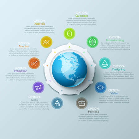 characteristic: Beautiful infographic design layout with sphere in center, 8 arrows pointing at line symbols and text boxes