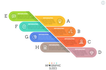Simple infographic design template with colorful rounded elements divided into 8 lettered parts