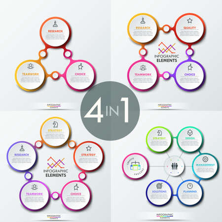Set of four creative infographic design layouts with 3, 4, 5 and 6 connected circular elements, icons and text boxes.