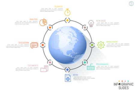 Acht pictogrammen en tekstvakken over de hele wereld. Minimale infographic ontwerplay-out.