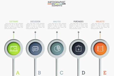 Five separate round elements with thin line icons inside and text boxes. Steps to software product release concept. Creative infographic design layout.