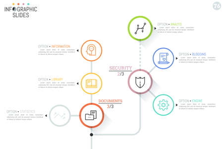 Werkstroomdiagram met ronde elementen, pictogrammen en tekstvakken verbonden door lijnen.