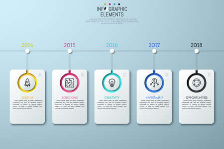Horizontal timeline with year indication, 5 lettered rectangle elements, linear icons and text boxes.