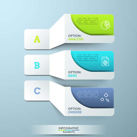 Three lettered paper white elements with pictograms and colorful text boxes. Creative infographic design template. 3 main features of provided service concept