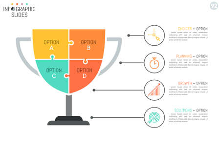 Simple infographic design layout in shape of winners cup divided into 4 puzzle pieces connected with icons and text boxes. Illustration