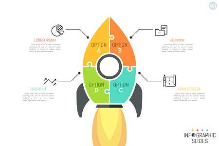 Simple infographic design layout, jigsaw puzzle in shape of space rocket flying up divided into 4 multicolored parts.