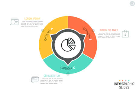 Round diagram divided into 3 lettered parts with arrows pointing at text boxes and thin line icons. Simple infographic design layout. Illustration