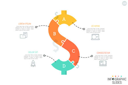 Jigsaw puzzle in shape of dollar sign divided into 4 pieces. Minimal infographic design layout. Money saving, monetary policy, finance and budget planning concept. Illustration
