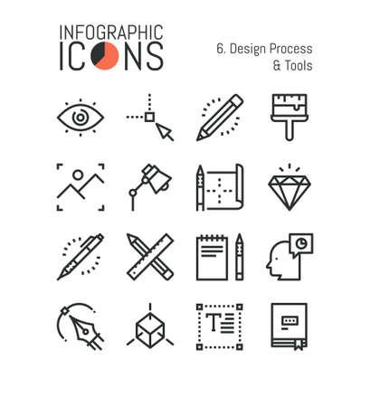 Bundle of minimal thin line icons, design process and tools: techniques and software for graphic, web and digital designer, 3d modeling. Vector illustration for website, presentation, application. Ilustração