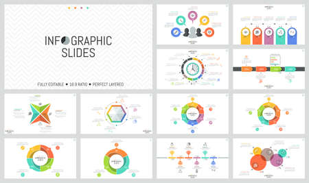 Big Bundle Of Simple Infographic Design Templates Round Charts