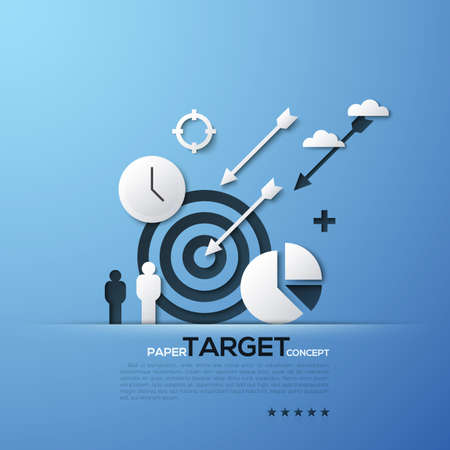Target paper concept. White silhouettes of aim, arrows, person, clouds, watches and pie chart. Modern elements in minimalist style. Illustration