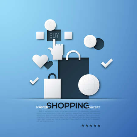 Shopping paper concept. White silhouettes of bags, globe, dollar coins and hand clicking on Buy button. Modern elements in simple style.