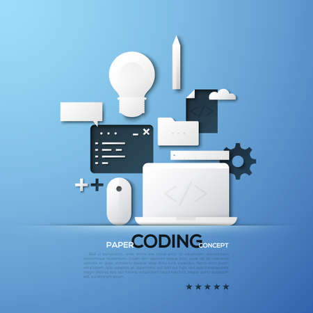 html: Paper concept of coding, front and back end software development, program code testing. White silhouettes of laptop, mouse pad, light bulb. Illustration