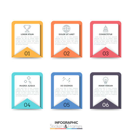 Six numbered rectangular elements with text boxes and thin line pictograms inside. Collection of 6 stickers and frames. Minimal infographic design layout. Vector illustration for presentation.