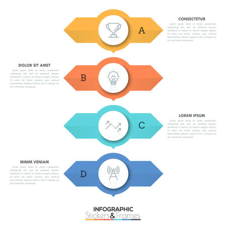 Four round elements placed one above other with two arrows pointing in opposite directions and text boxes, 4 double-sided pointers concept. Creative infographic design layout. Vector illustration. Illustration