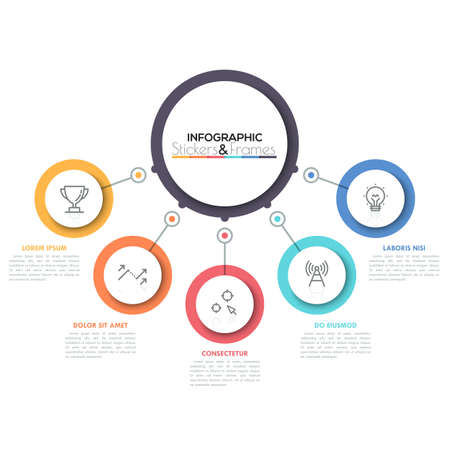 Five multicolored circles connected with main round element in center, 5 features of business process concept. Minimalist infographic design template.
