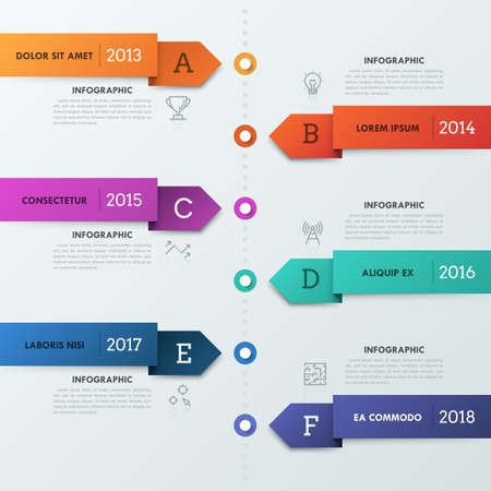 Vertical timeline with 6 arrow-shaped stripes, thin line icons, letters, year indication and text boxes. Realistic infographic design template. 向量圖像