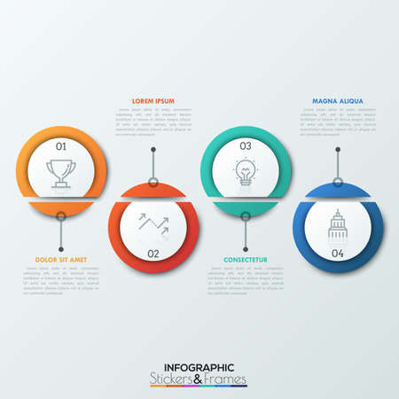 Four dissected circular elements with thin line pictograms and numbers inside. 4 successive steps of business progress concept. Realistic infographic design layout.