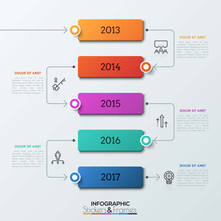 Five rectangular elements with year indication inside successively connected by arrows. Realistic infographic design template.
