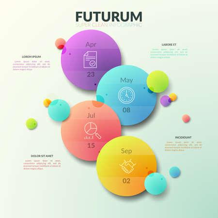 Cuatro círculos multicolores separados con pictogramas de líneas finas e indicación de la fecha en el interior. Concepto de planificador de negocios. Plantilla de diseño infográfico moderno.