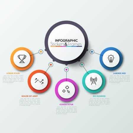 Five colorful circles connected with central round element. 5 features or options of business process concept. Realistic infographic design template.